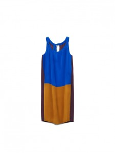 Color-Blocked Silk Dress