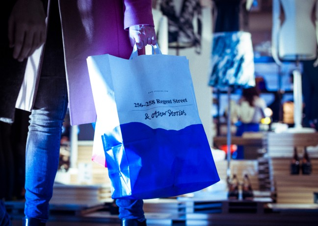 Shopping bags at the newly opened store in London