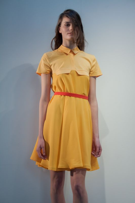 Marigold yellow cotton and silk chiffon dress with a striking red skinny belt is the perfect Spring look