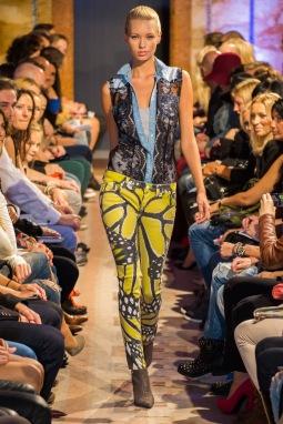 Butterfly wing motif skinny jeans