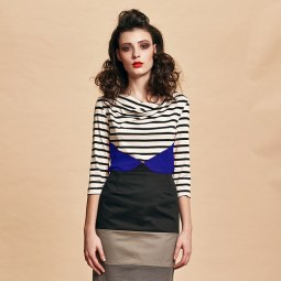 Stripes move forward in boat-neck styles and striped satin pencil skirts
