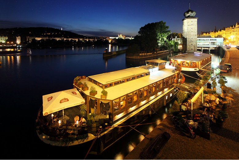 Sit and enjoy evening views of Prague Castle and Manes /  Photo Credit: Botel Matylda