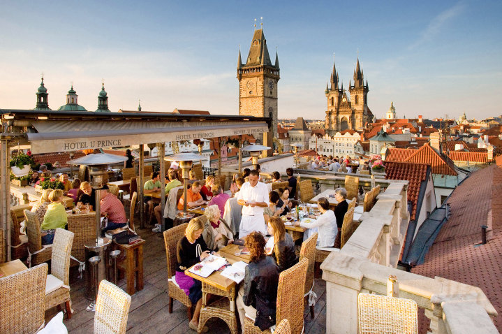 Roof top terraces in prague day drinking just got a whole for Terrace u prince prague