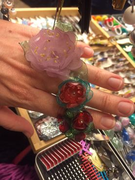Plastic flower statement rings!